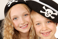 Two Children in Pirates Costumes Stock Photography