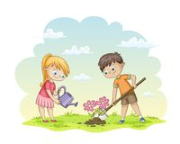 Two children are planting flowers. On a meadow stock illustration