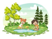 Two children play with a boat by al lake. Vector illustration Royalty Free Stock Image