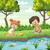 Two children play with a boat by al lake. Vector illustration Royalty Free Stock Photography