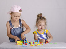Two children play in the constructor Royalty Free Stock Photography