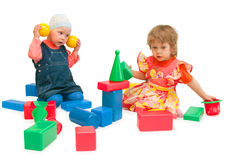 Two children play cubes Stock Photography