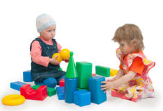Free Two Children Play Cubes Stock Image - 12205201