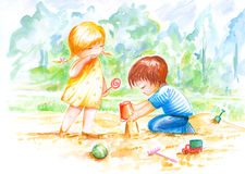 Two children play with sand. Boy and girl play with sand.Picture I have painted by myself with watercolors and colored pencils Royalty Free Stock Photography