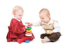 Two children play together Stock Photo