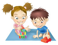 Two children playing vector illustration