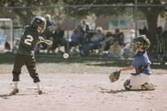 Two Children Playing Baseball Stock Photo