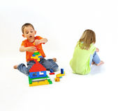 Two children playing with a constructor Royalty Free Stock Images