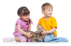 Two children playing with kitten Stock Photos