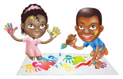 Two children playing with paint. Illustration of two ethnic children playing with paints on a play-mat Royalty Free Stock Photography