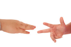 Two children playing rock paper scissors Royalty Free Stock Images