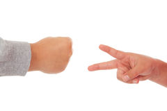 Two children playing rock paper scissors Stock Image