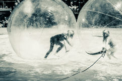 Two children playing in super ball in swimming pool Royalty Free Stock Image