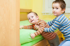 Two children playing together Royalty Free Stock Photo