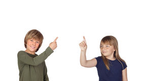 Two children pressing something Stock Photos