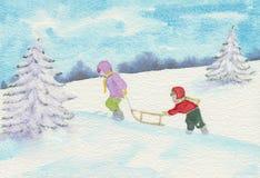Two children pulling sledge. Stock Photo