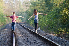 Two children on rails Royalty Free Stock Photography