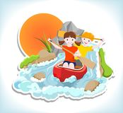Two children on red canoe Royalty Free Stock Photography