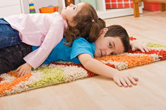 Two children resting Royalty Free Stock Photography