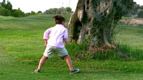 Two children running around a big tree. In slow motion stock video