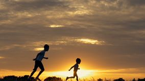 Silhouettes of running children in a field at sunset. Two children running and playing in the meadow at sunset stock video