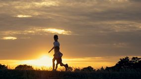 Silhouettes of running children in a field at sunset. Two children running and playing in the meadow at sunset stock footage