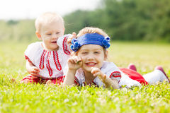 Two children in Russian folk clothes Royalty Free Stock Images