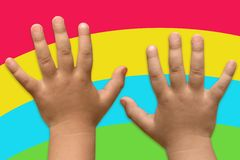 Two children's hands royalty free stock images
