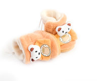 Two children`s soft boot with bears Stock Photos