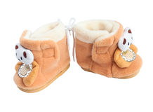 Two children's soft boot with bears Stock Photos