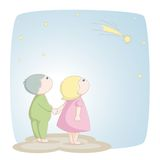 Two children see a shooting star Royalty Free Stock Photos