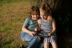 Two children sit under more tree with interest looking at the tablet screen. Stock Images