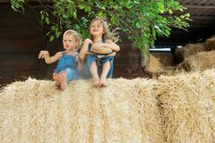 Two children sits on a haystack stock images