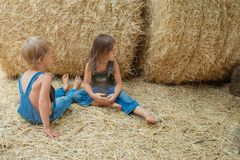 Two children sits on a haystack stock photography