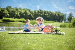 Two children are sitting on green meadow and smile royalty free stock images