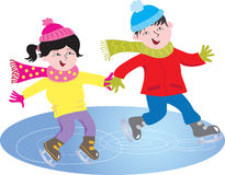 Two children skating Royalty Free Stock Photo