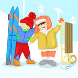 Two children with a snowman Stock Images