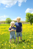 Two Children Standing Outside in Flower Meadow Royalty Free Stock Photos