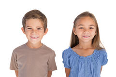 Two children standing and smiling at camera Royalty Free Stock Photography