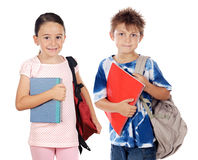 Two children students returning to school Royalty Free Stock Images