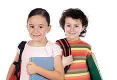 Two children students returning to school Royalty Free Stock Photography