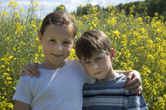Two Children In Summer. Boy and girl arm in arm on a sunny day in front of a yellow blooming canola field Stock Photos