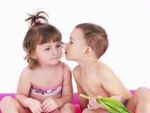 Two children in swimsuits Royalty Free Stock Images