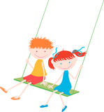 Two children on a swing Stock Image
