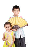 Two children take fan Royalty Free Stock Image