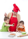Two children and their mother Stock Photo