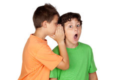 Two children told gossip Royalty Free Stock Images