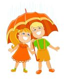Two children under umbrella Royalty Free Stock Photography