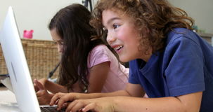 Two children are using computer. In the lounge stock video