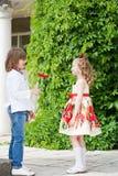 Two children  on walk Stock Photo
